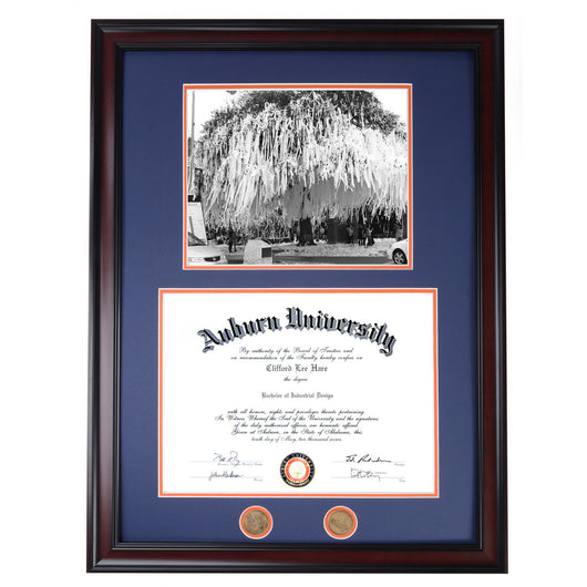 Auburn Diploma Frame with Rolling Toomer's Photo- Quick & Easy Installation!