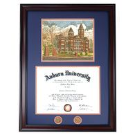 Auburn Diploma Frame with Samford Hall Lithograph in Walnut or Mahogany - Quick and Easy Installation