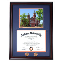 Auburn Diploma Frame with Samford Hall Photo in Walnut or Mahogany - Quick and Easy Installation