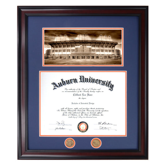 Auburn Diploma Frame with Football Stadium in Walnut or Mahogany - Quick and Easy Installation