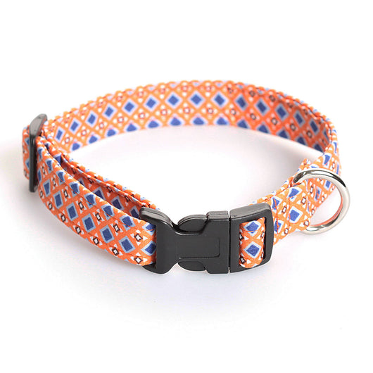 Orange and Blue Diamond Print Dog Collar