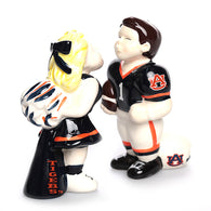 Auburn Kissing Cheerleader and Football Player Salt and Pepper Shaker Set
