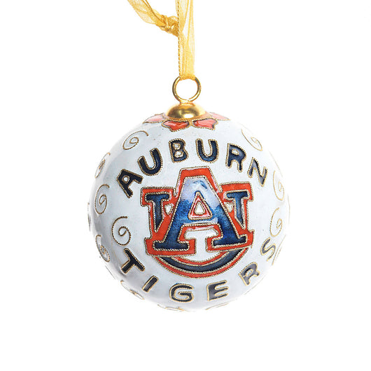Auburn Tigers White Cloisonné Ornament