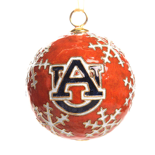 Auburn Snowflake Orange Cloisonné Ornament
