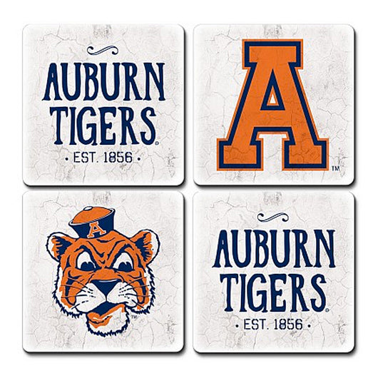 Auburn Assorted Vintage 4 Pack Coaster Set