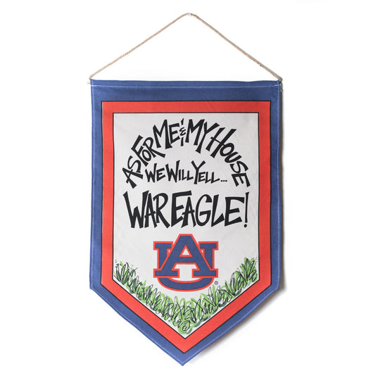As for Me and My House, We will Yell War Eagle Front Door Banner