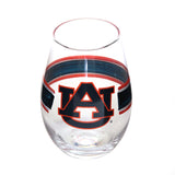 Auburn University Orange and Blue Stemless Wine Glass