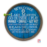 Blue Barrel End Custom Wooden Lake Sign