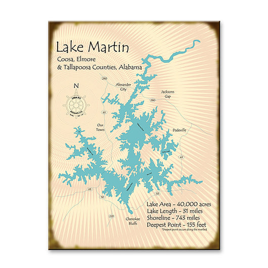 Lake Martin Map Wooden Sign