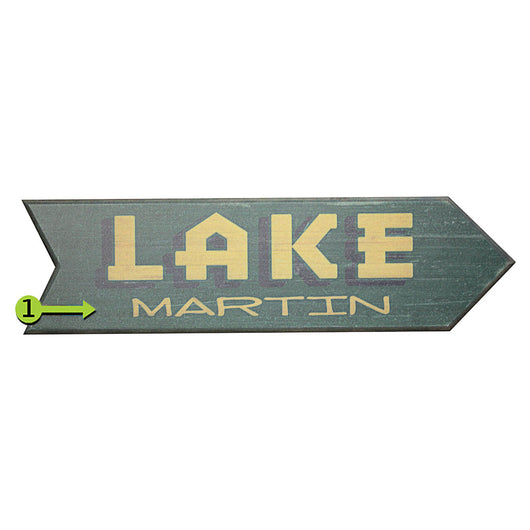 Green Custom Wooden Lake Arrow Sign Pointing Right