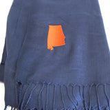 Alabama Scarf in Navy and Orange