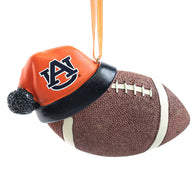 Auburn Football with Santa Hat Ornament