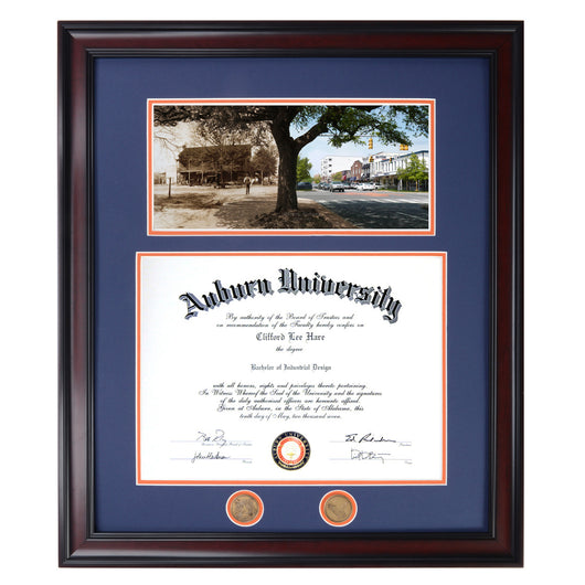 Auburn Diploma Frame with Toomer's Then and Now photograph in Walnut or Mahogany - Quick and Easy Installation