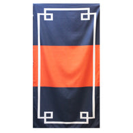 Navy and Orange Color Block Beach Towel