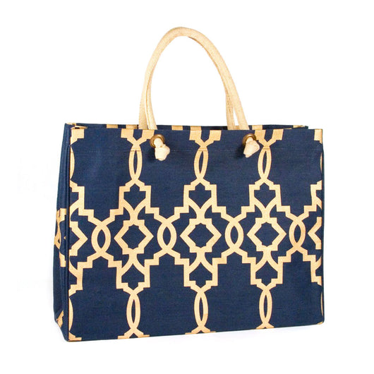Navy and Gold Jute Paris Glamour Tote