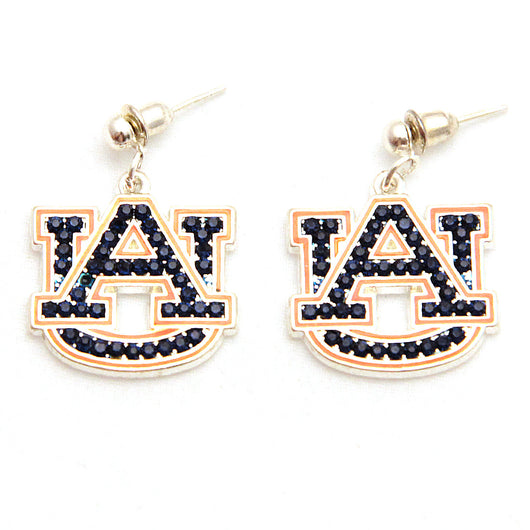 Auburn Crystal Logo Earrings