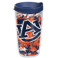 Auburn 16 oz Splatter Paint Tervis with lid