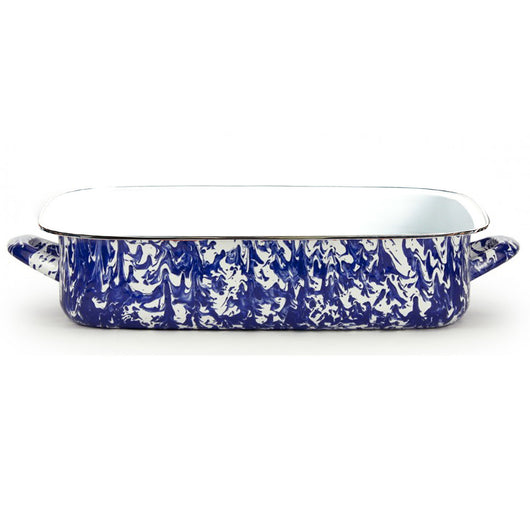 Enamel Coated Lasagna Pan in Navy Swirl