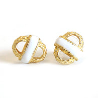Small Basket Earring GLD/White
