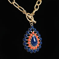 Orange & Navy Teardrop Necklace
