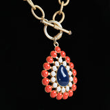 Navy, White and Orange Teardrop Necklace