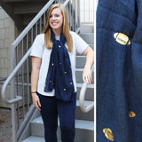 Navy & Gold Football Glamour Scarf