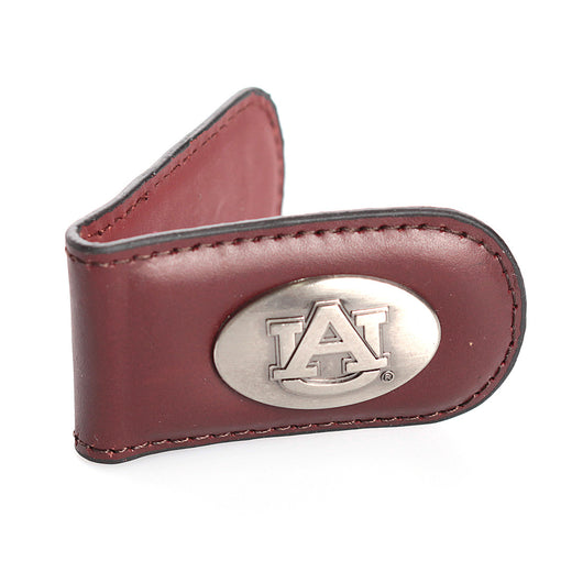 Auburn Brown Leather Money Clip