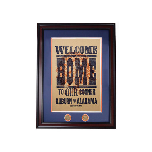 Welcome Home Letterpress Poster - Natural Framed