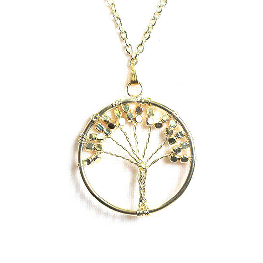 Long Circle Tree Necklace in Gold