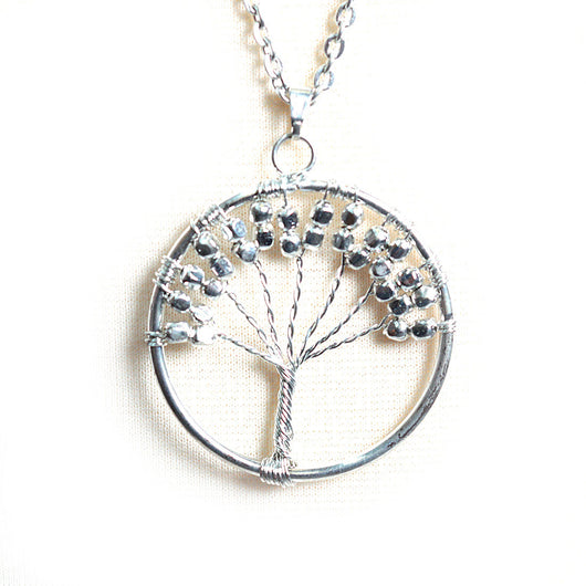 Long Circle Tree Necklace in Silver