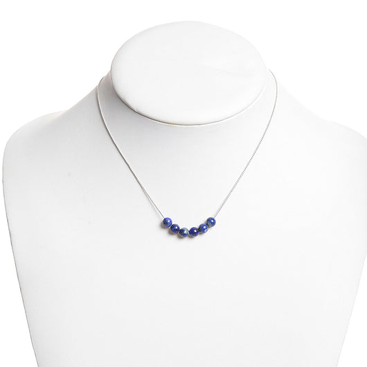 Lapis 6 Bead Necklace in Silver