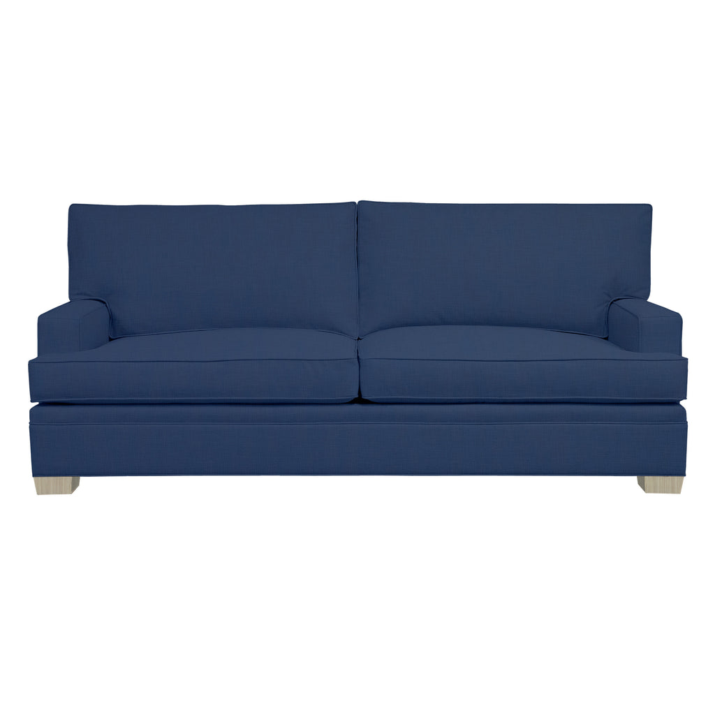 Adeline Sofa, Navy Cryptonhome Texture Pattern, Dutch Cocoa Frame