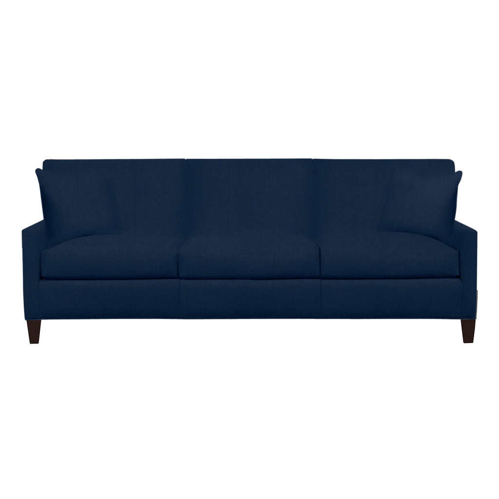 Emma Sofa, Navy Cryptonhome Texture Herringbone Pattern, Sable Frame