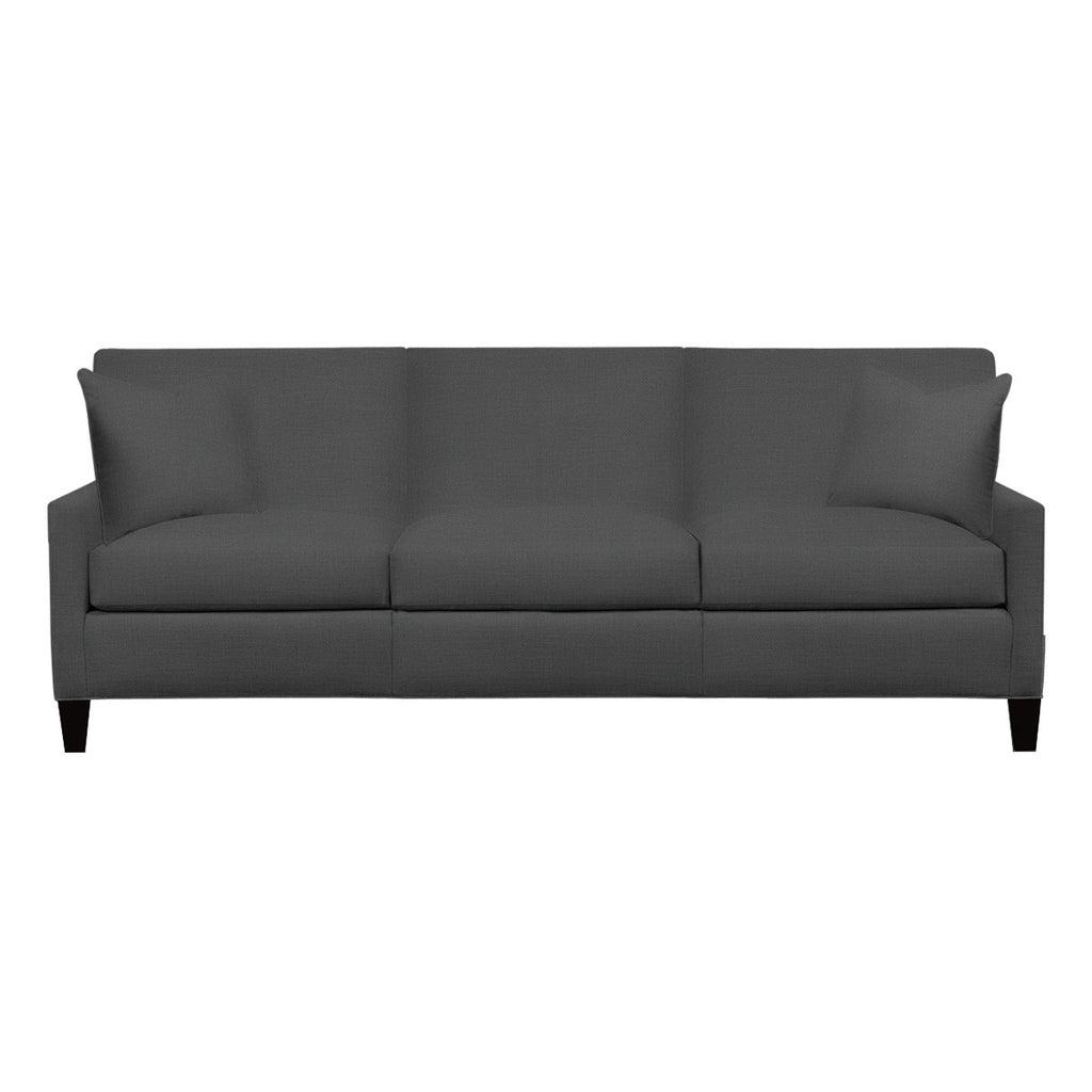 Emma Sofa, Dark Grey Cryptonhome Texture Herringbone Pattern, Black Frame