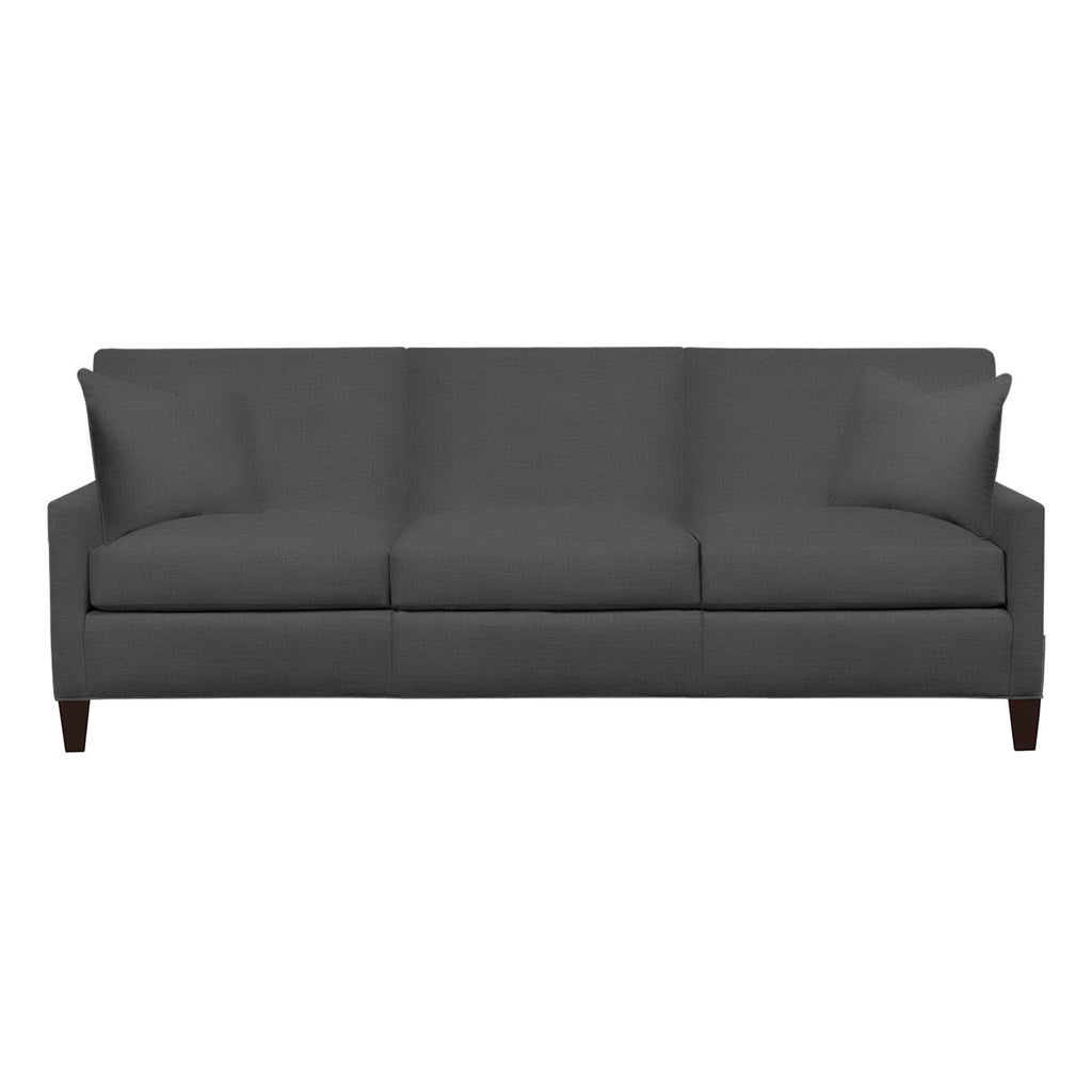Emma Sofa, Dark Grey Cryptonhome Texture Herringbone Pattern, Sable Frame