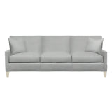 Emma Sofa, Medium Grey Cryptonhome Texture Herringbone Pattern, Dutch Cocoa Frame