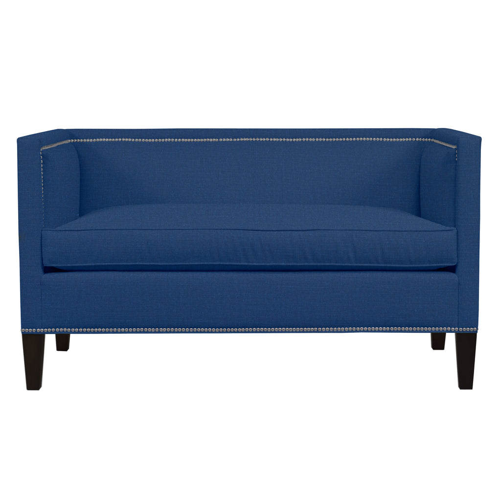 Cameron Sofa, Blue Solid , Black Frame