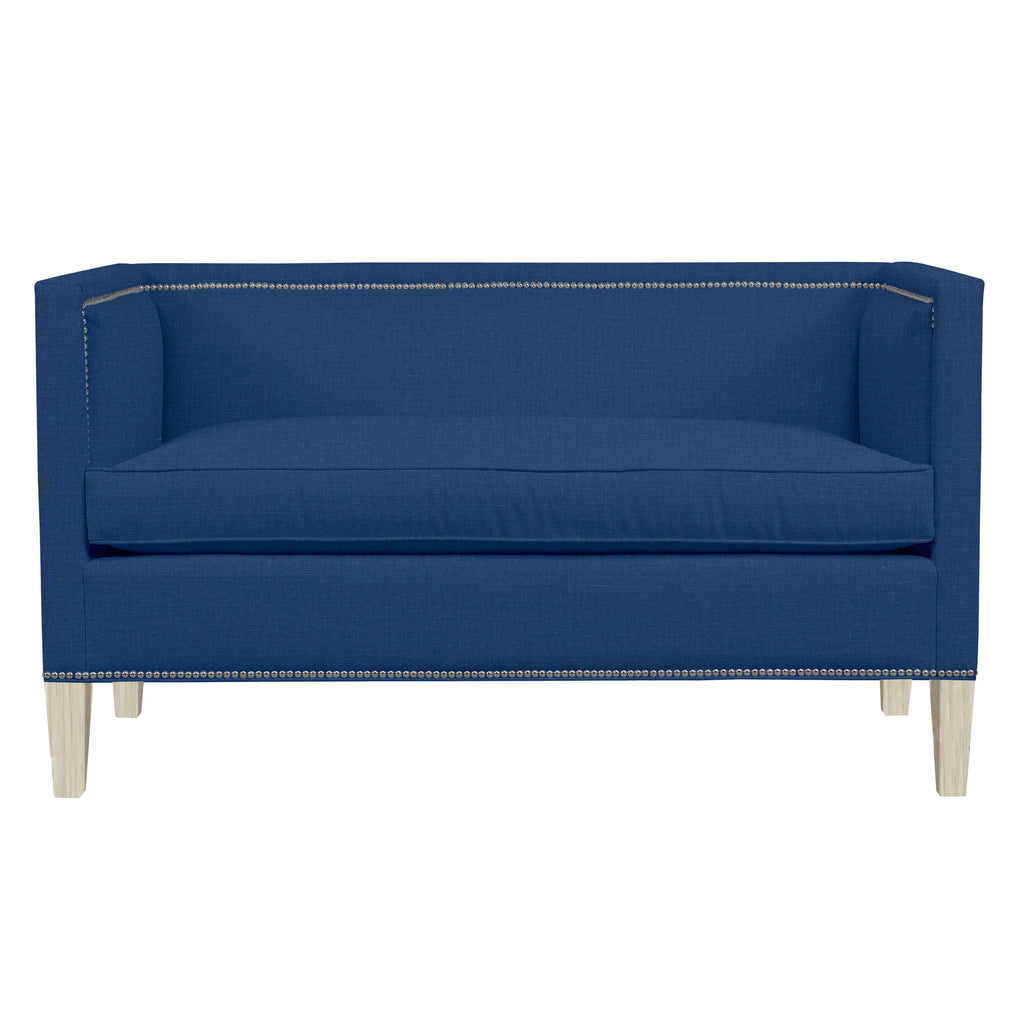 Cameron Sofa, Blue Solid , Dutch Cocoa Frame