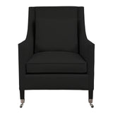 Carter Chair, Dark Grey Velvet , Black Frame