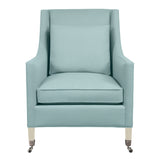 Carter Chair, Seafoam Velvet , Dutch Cocoa Frame