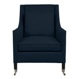 Carter Chair, Navy Velvet , Black Frame
