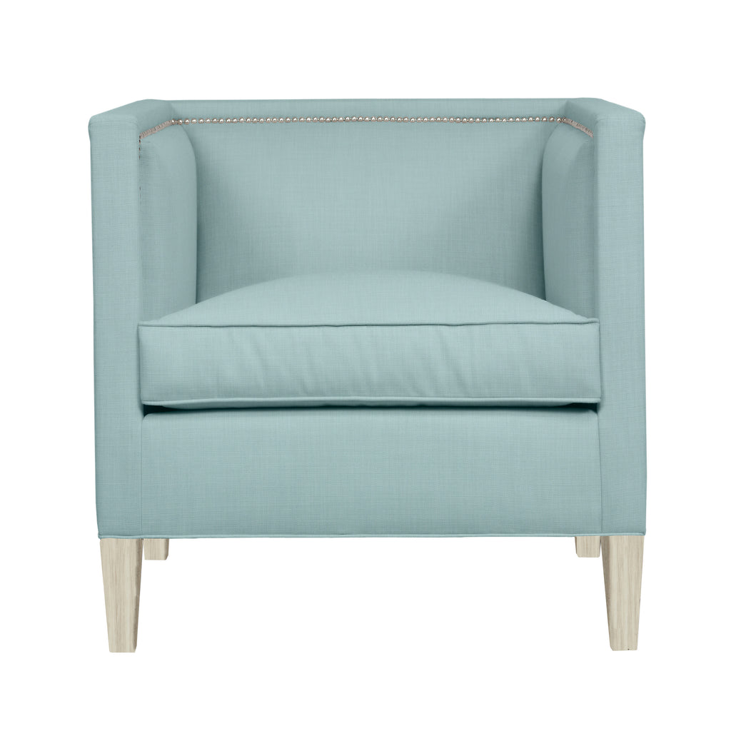Cameron Chair, Seafoam Velvet , Dutch Cocoa Frame