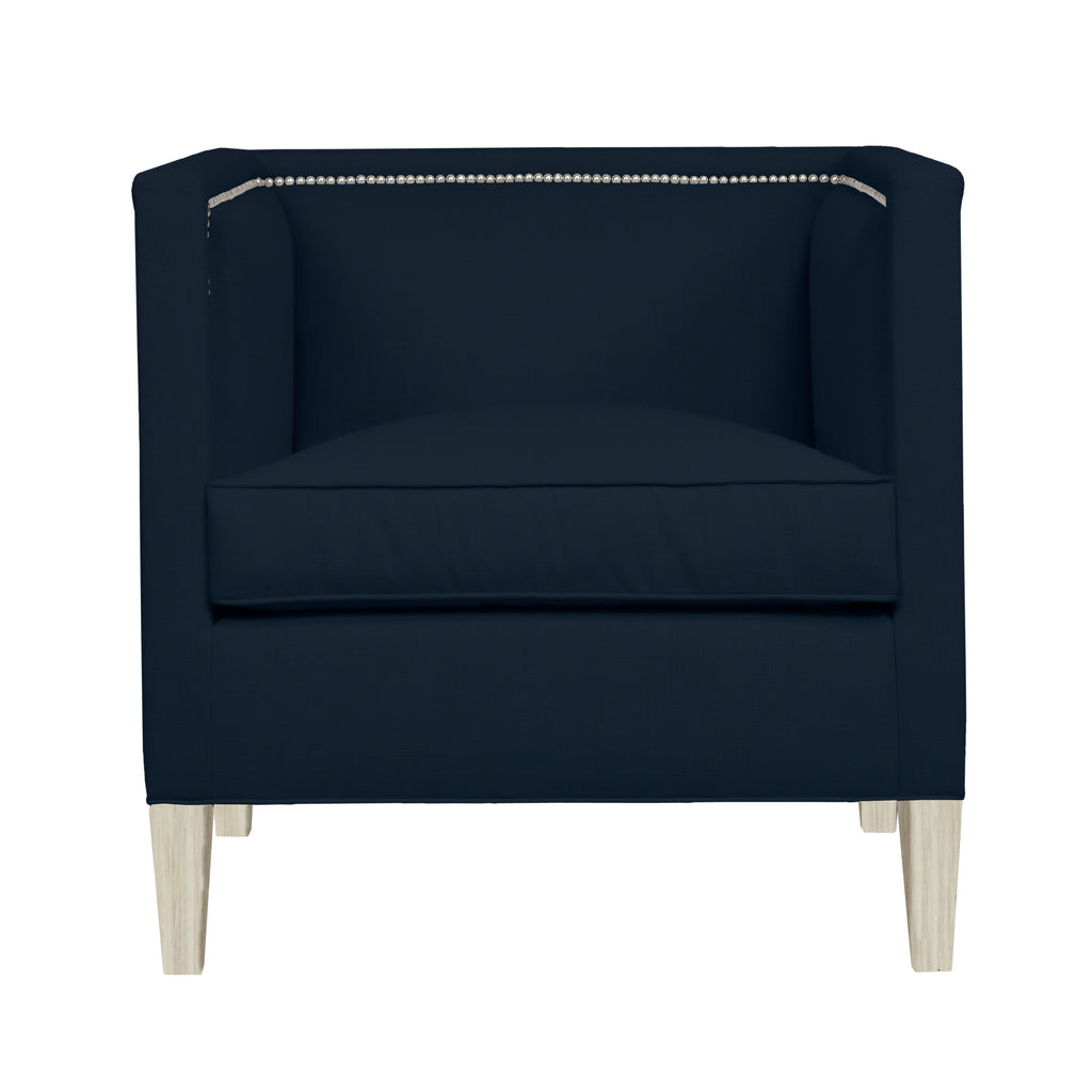 Cameron Chair, Navy Velvet , Dutch Cocoa Frame