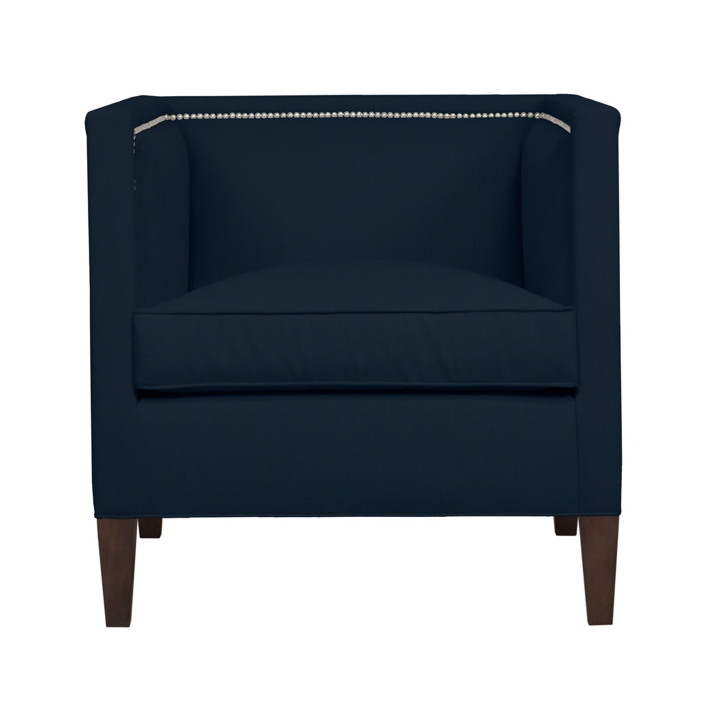 Cameron Chair, Navy Velvet , Sable Frame