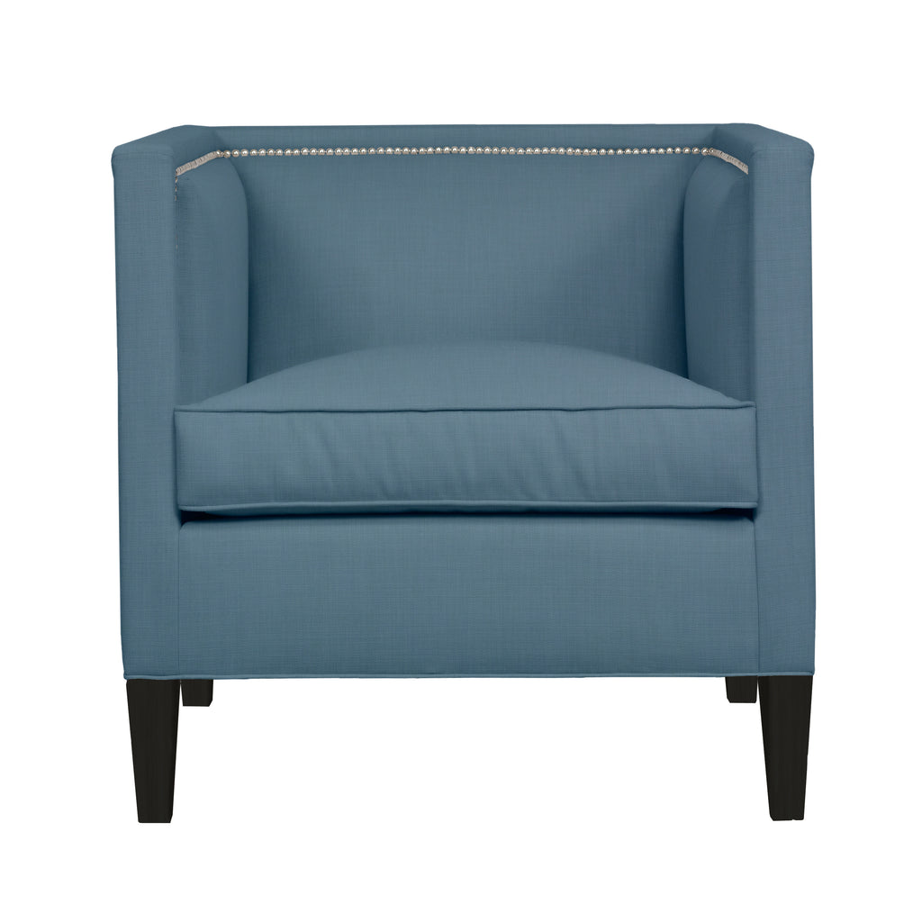 Cameron Chair, Blue Velvet , Black Frame
