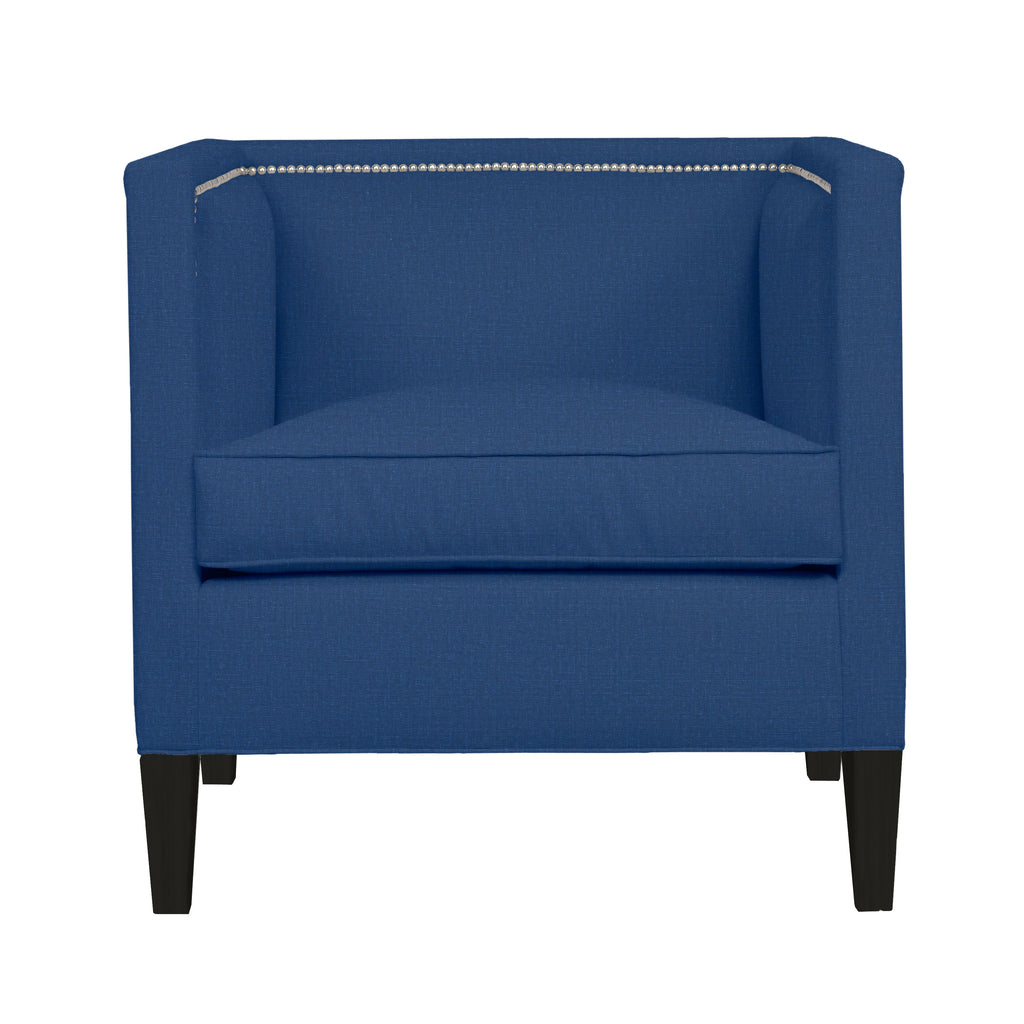 Cameron Chair, Blue Solid , Black Frame
