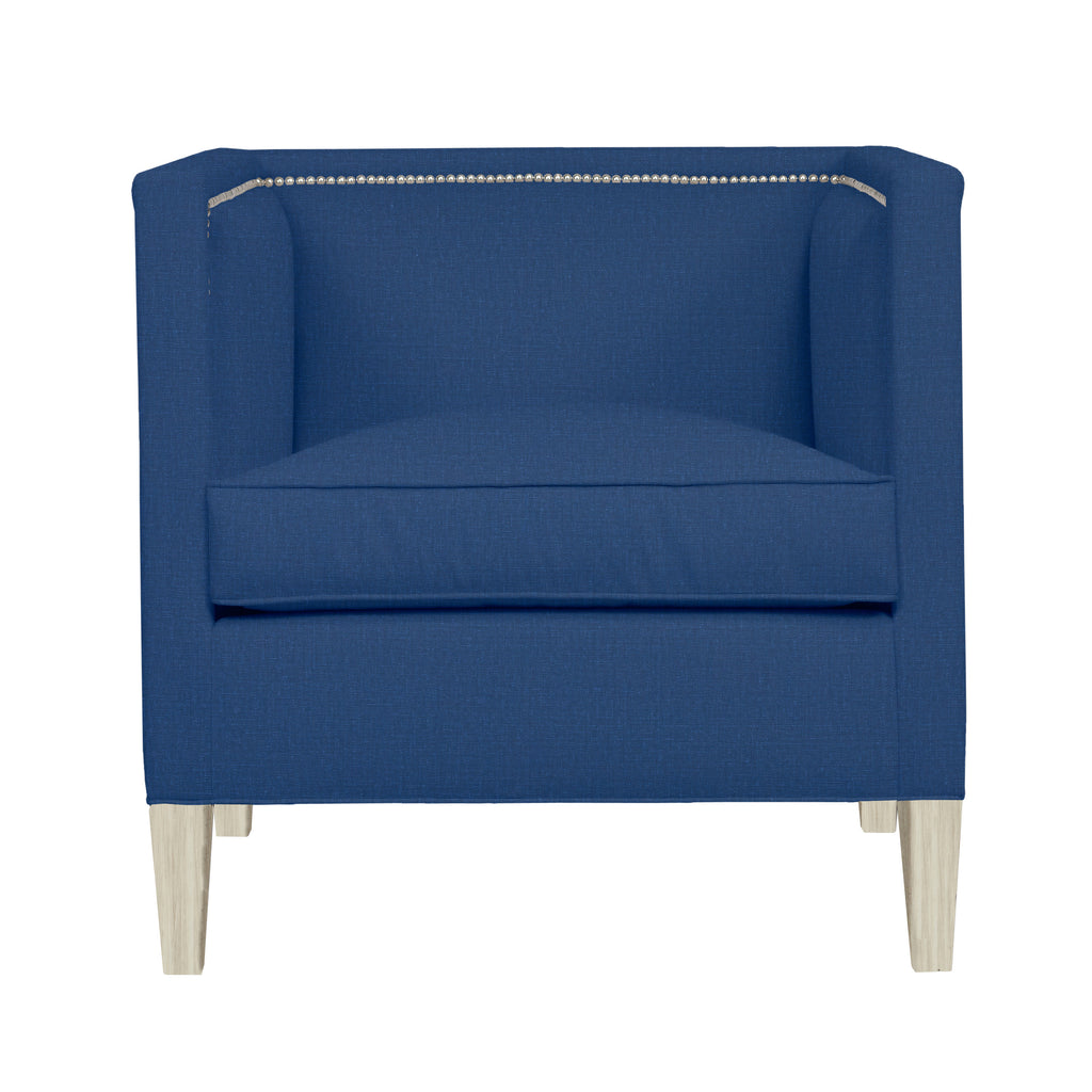 Cameron Chair, Blue Solid , Dutch Cocoa Frame