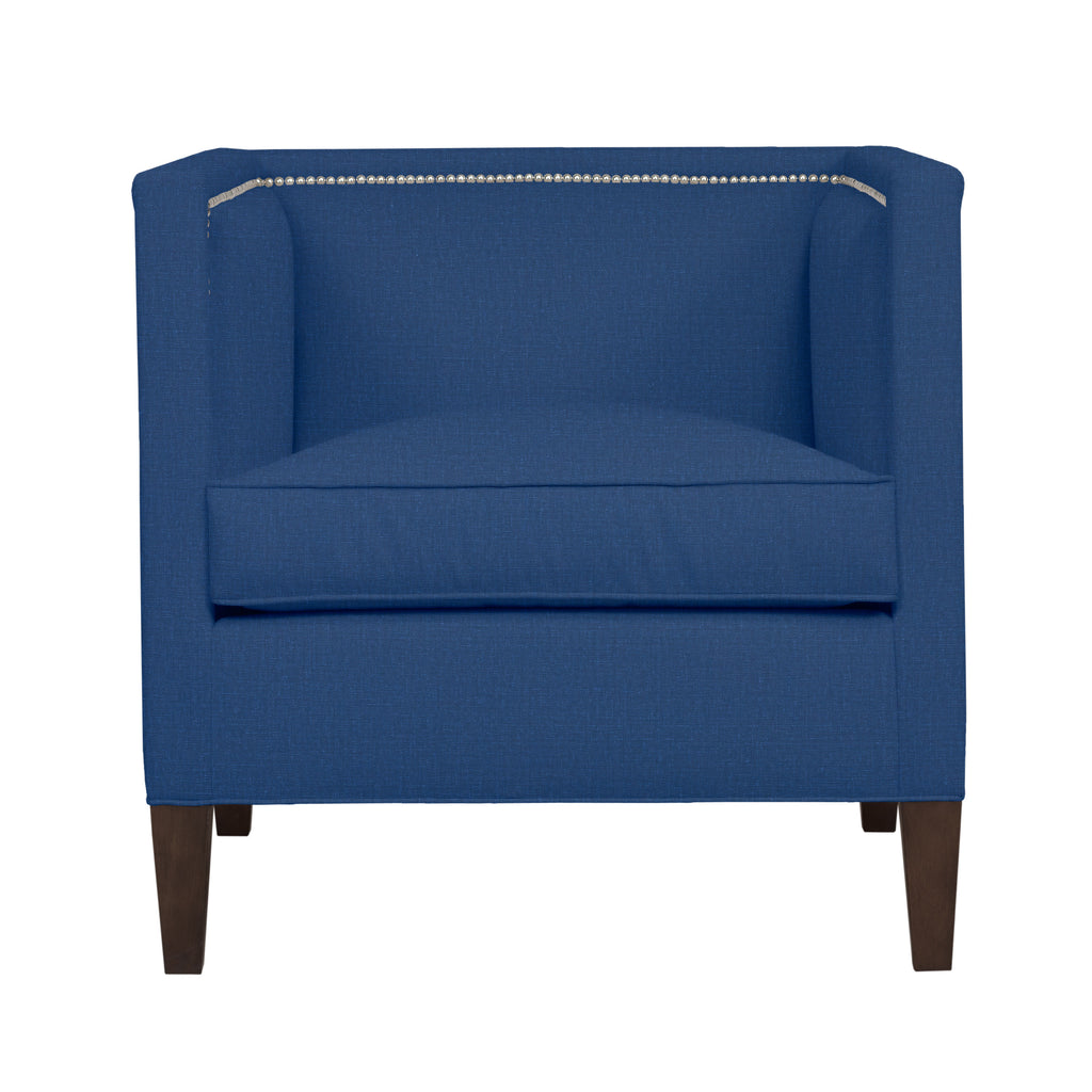 Cameron Chair, Blue Solid , Sable Frame