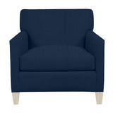 Emma Chair, Navy Cryptonhome Texture Herringbone Pattern, Dutch Cocoa Frame