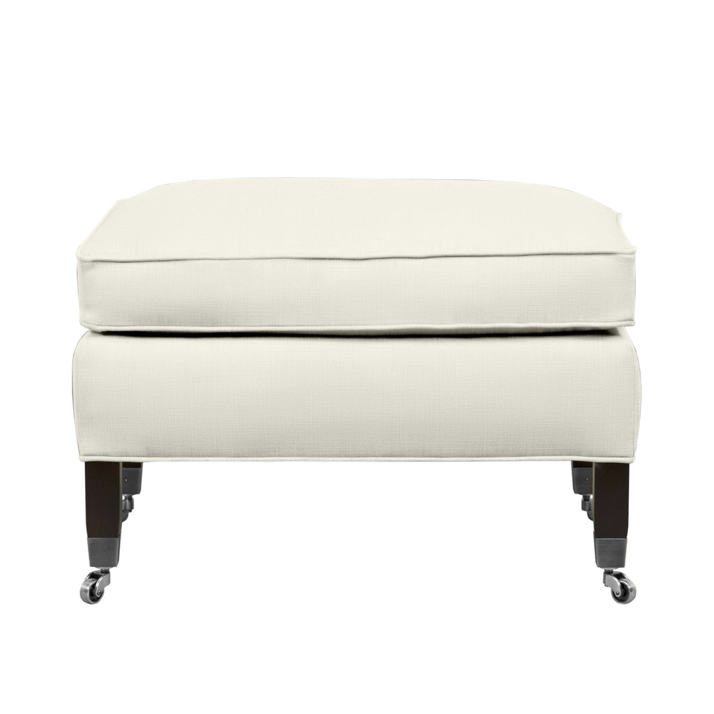 Carter Ottoman, Ivory Solid , Sable Frame